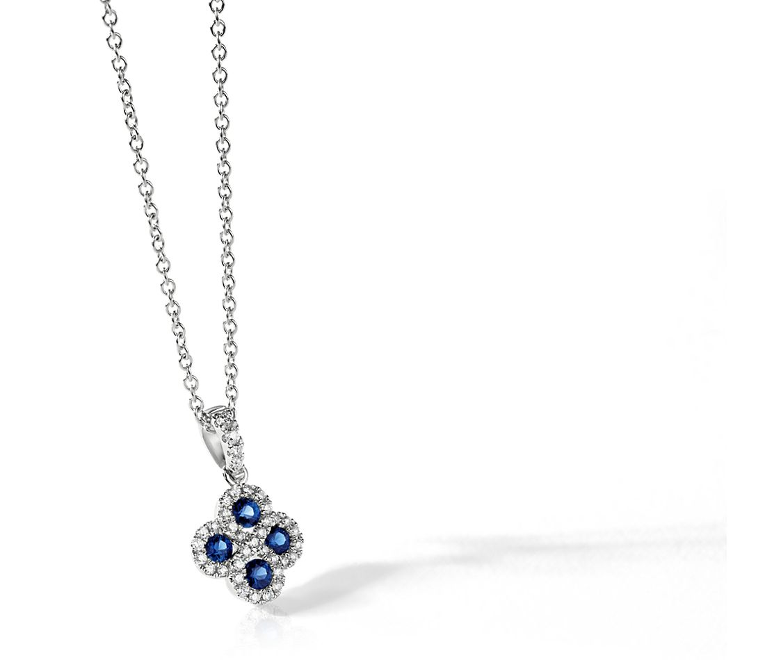 Blue Sapphire and Diamond Pendant in 14k White Gold