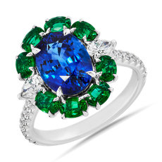 NEW Blue Sapphire and 祖母绿戒指 with Diamond Details in 18k 白金