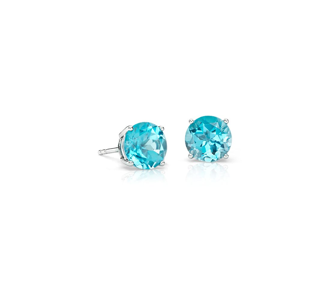 Blue Topaz Stud Earrings In 14k White Gold 7mm