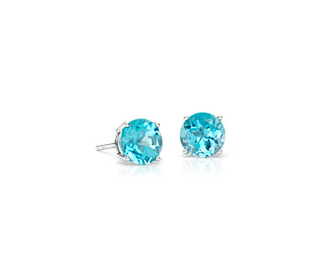 stud image genuine itm tgw ebay earrings blue topaz white gold is s loading