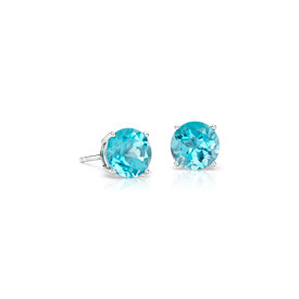 Blue Topaz Stud Earrings in 14k White Gold (7mm)