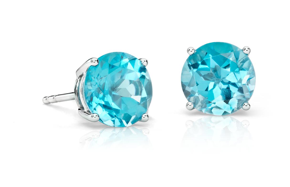 Blue Topaz Stud Earrings in 18k White Gold (7mm)