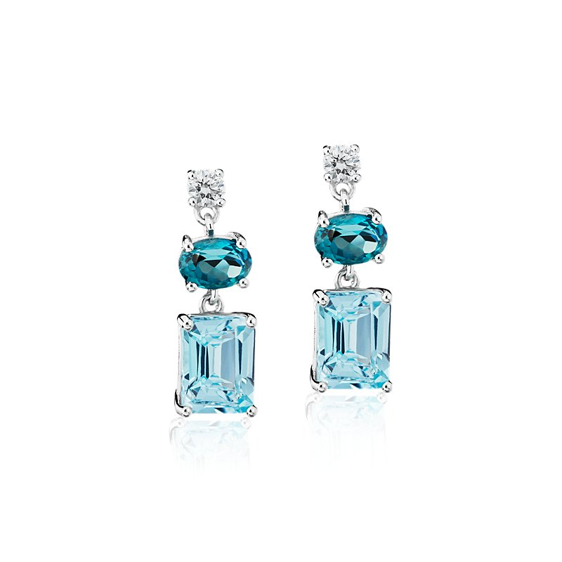 Blue Topaz and White Sapphire Mixed Shape Drop Earrings in Sterli