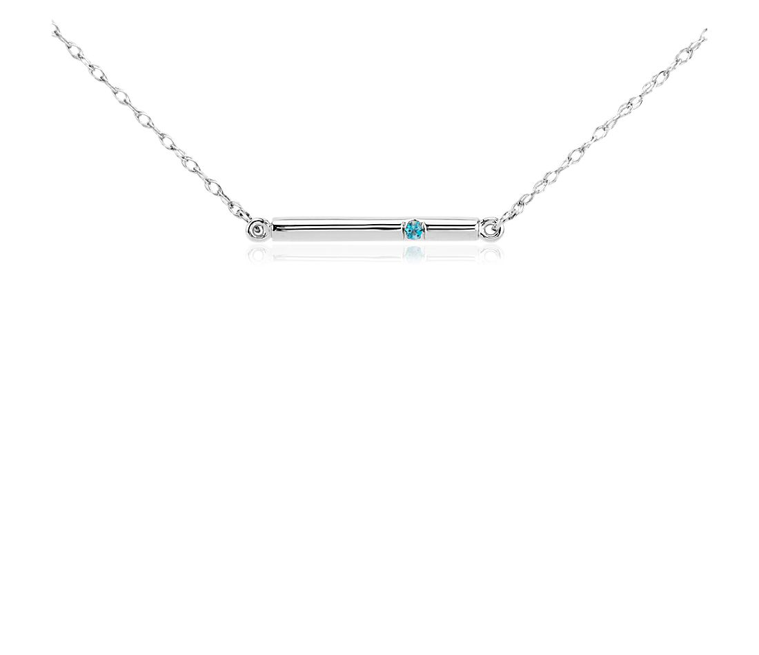 Blue Topaz Bar Necklace in 14k White Gold