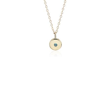 Blue Nile Mini Blue Topaz Birthstone Charm Pendant in 14k Yellow Gold - December (2mm) tzlX8
