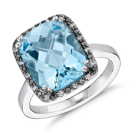 Robert Leser Blue Topaz And Diamond Halo Ring In 14k White