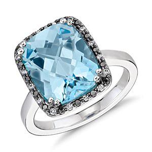 Bague diamant halo et topaze bleue Robert Leser en or blanc 14carats (12x10mm)