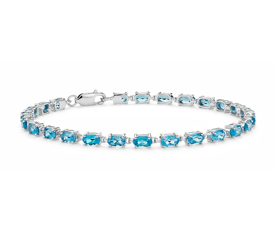 Petite Swiss Blue Topaz Oval Bracelet in Sterling Silver (5x3mm)