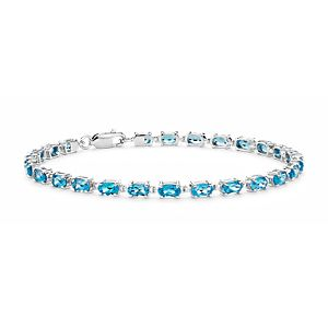 Petite Swiss Blue Topaz Oval Bracelet in Sterling Silver (5x3mm)