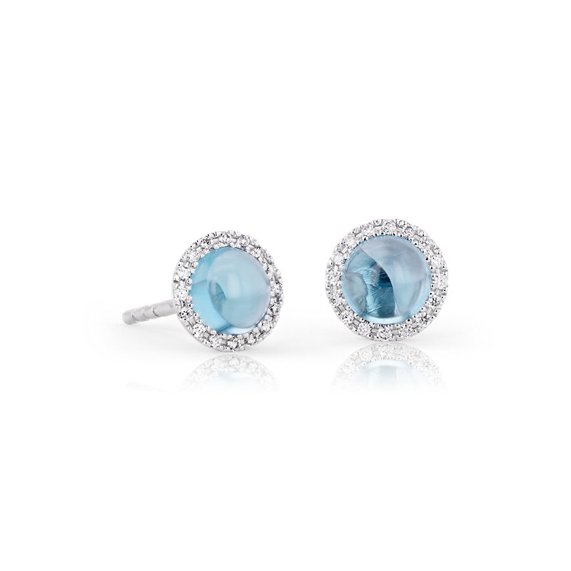 Petite Swiss Blue Topaz Earrings with Diamond Halo in 14k White G