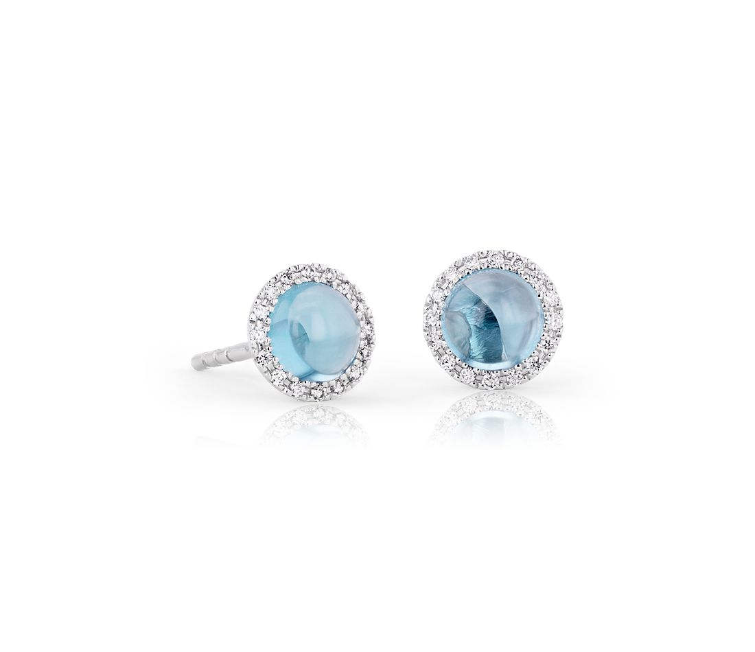 Pee Swiss Blue Topaz Earrings With Diamond Halo In 14k White Gold 5mm