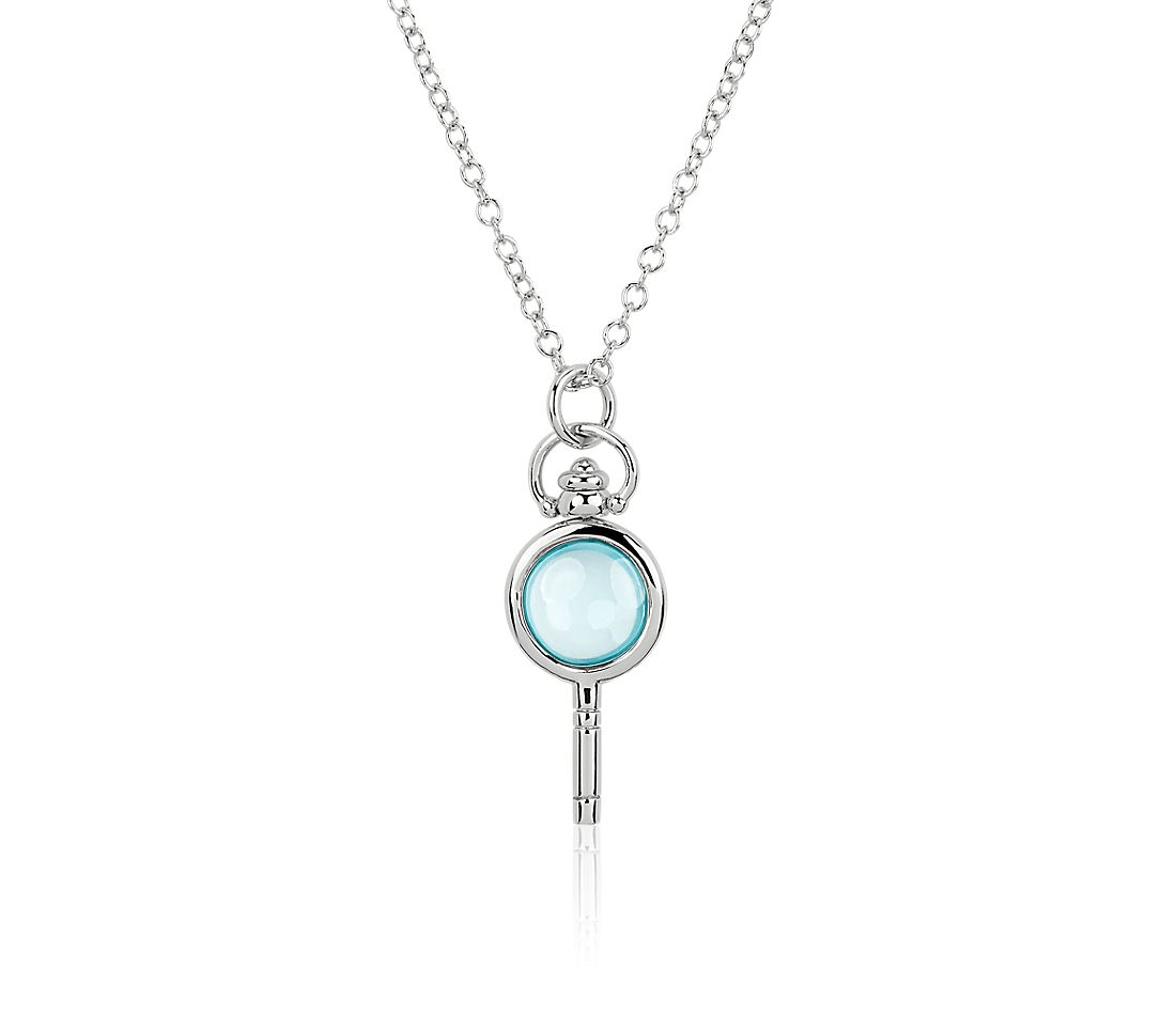 Monica Rich Kosann Blue Topaz Cabochon Key Pendant in Sterling Silver