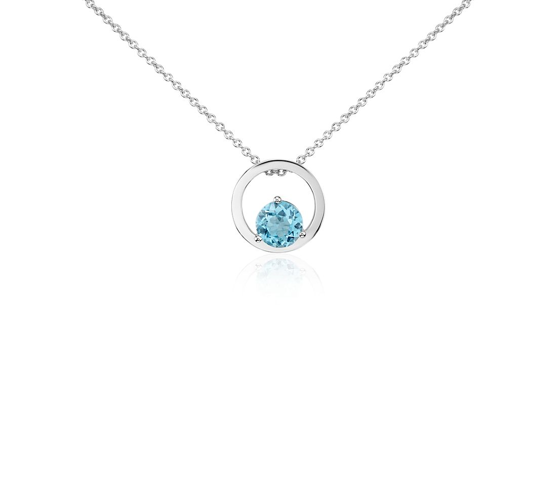 Blue Topaz Circle Pendant in 14k White Gold (5mm)
