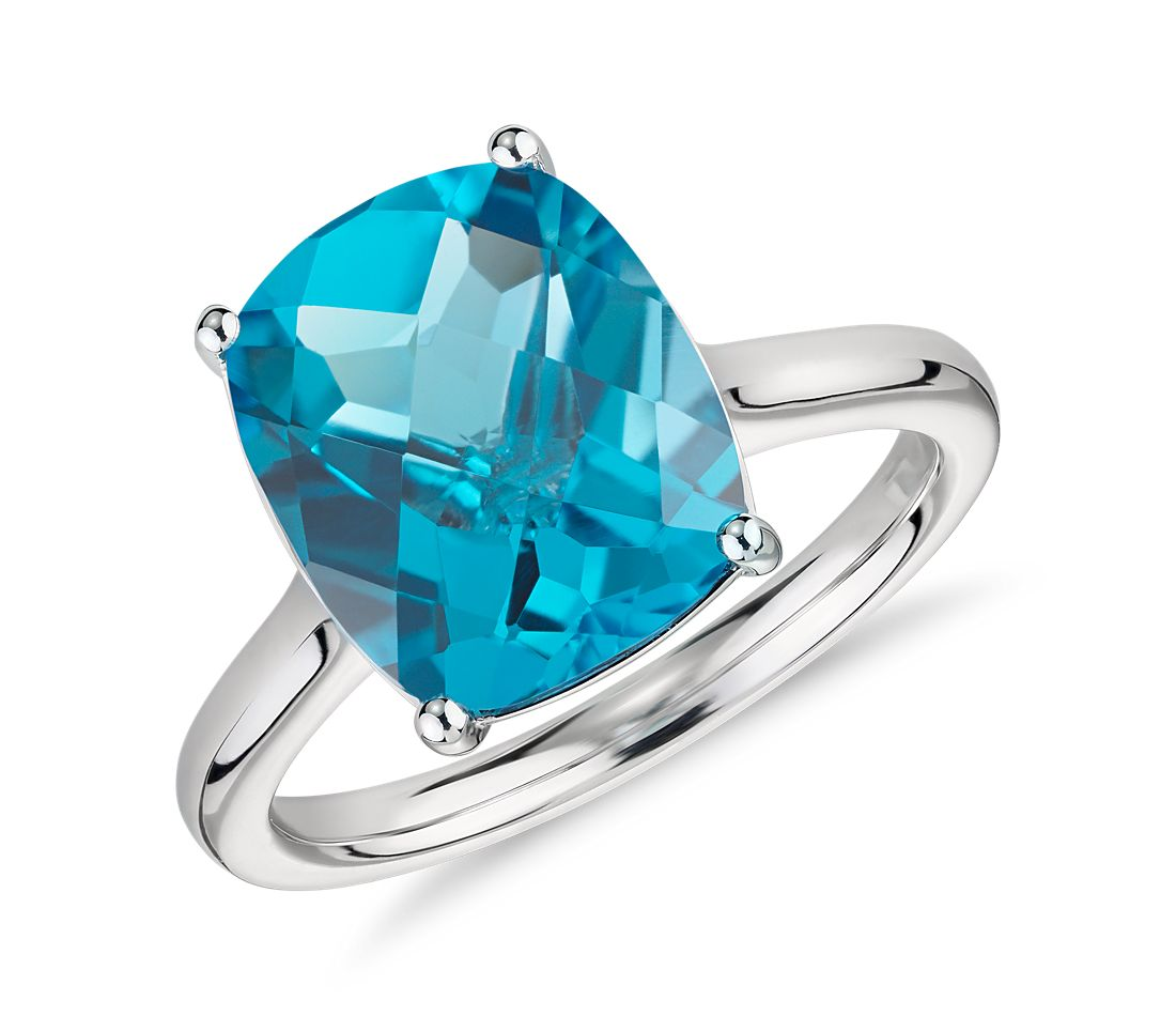 Blue Topaz Birthstone Engagement Ring With Diamonds