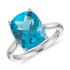 Blue Topaz Cushion Cocktail Ring in 14k White Gold (11x9mm)