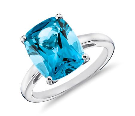 Blue Topaz Cushion-Cut Ring in Sterling Silver