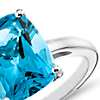 Blue Topaz Cushion-Cut Ring in Sterling Silver