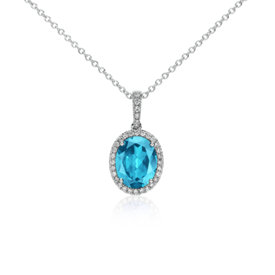 Blue Topaz and Diamond Pendant in 14k White Gold (10x8mm)