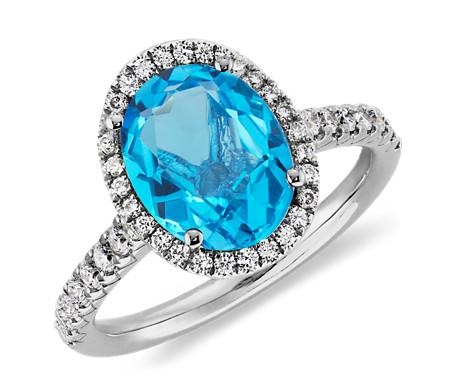 Blue Topaz and Diamond Ring in 18k White Gold (10x8mm)