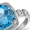 Blue Topaz and Diamond Cushion Ring in Brushed 14k White Gold