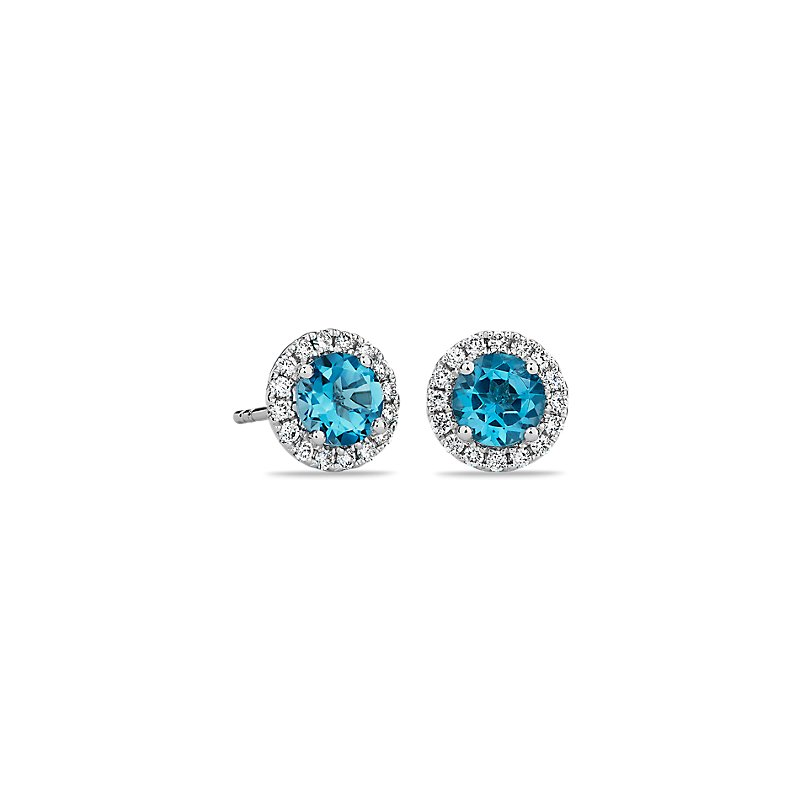 Blue Topaz and Micropavé Diamond Stud Earrings in 18k Whit