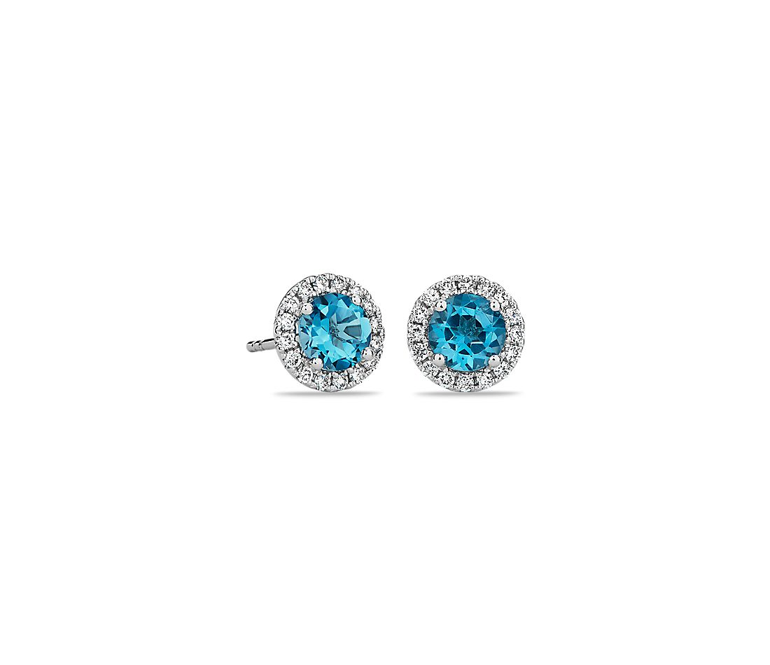 Blue Topaz And Micropavé Diamond Stud Earrings In 18k White Gold 5mm