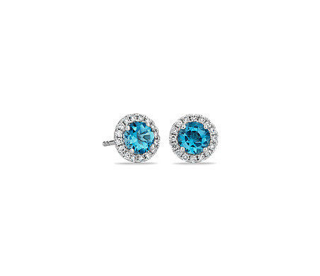 Blue Topaz and Micropavé Diamond Stud Earrings in 18k White Gold (5mm)