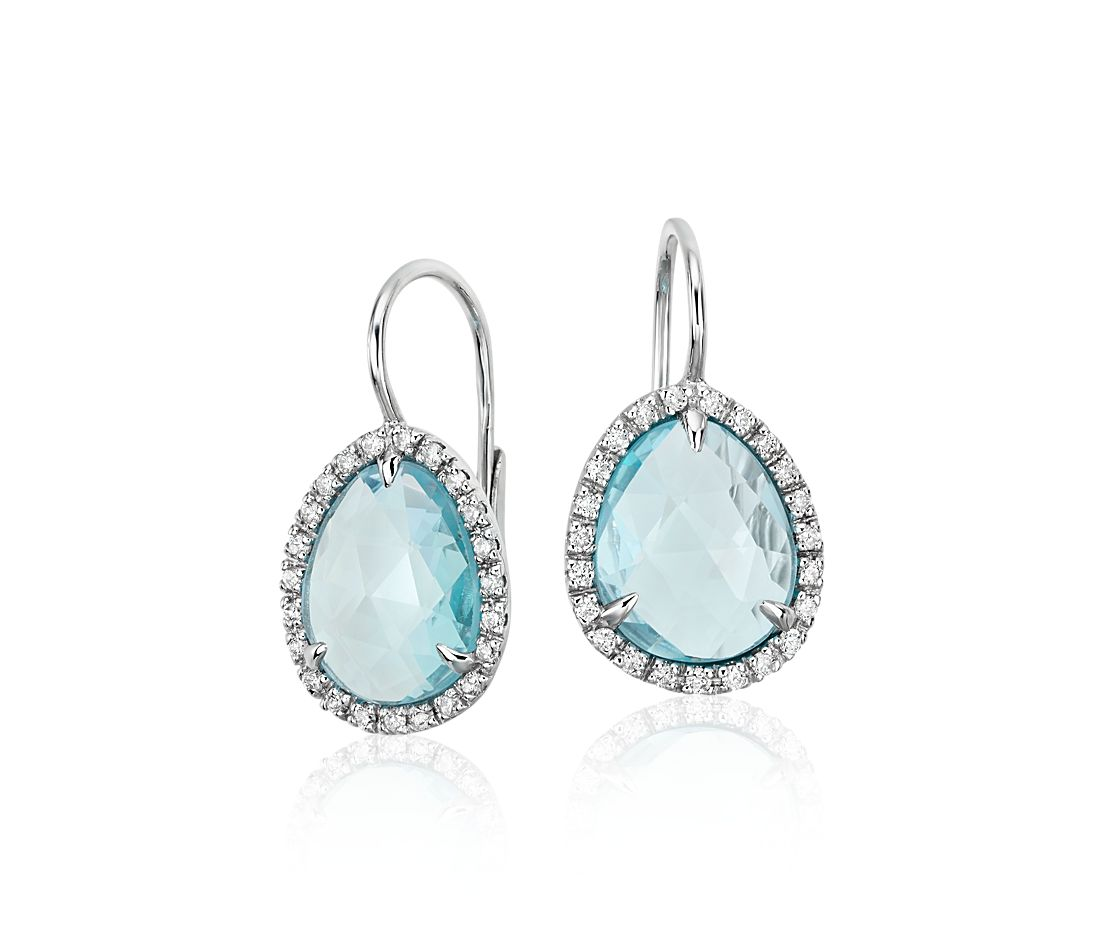 Sky Blue Topaz And Diamond Halo Earrings In 14k White Gold 11x9mm