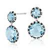 Robert Leser Blue Topaz and Diamond Halo Drop Earring in 14k White Gold (9mm)