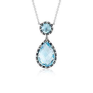Collier goutte halo diamant et topaze bleue Robert Leser en or blanc 14carats (15x10mm)