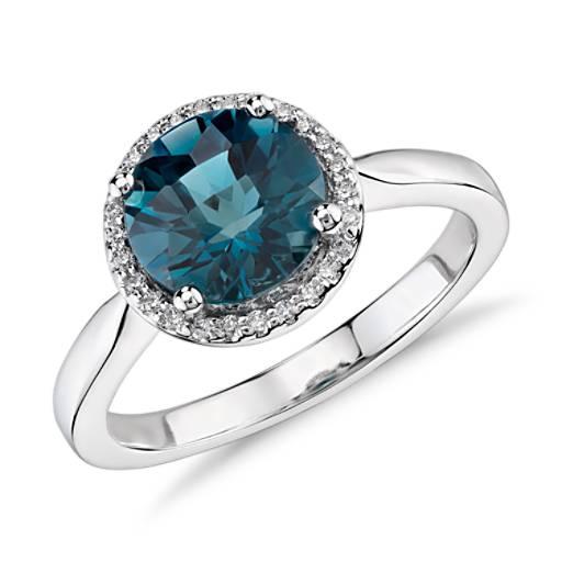 London Blue Topaz And Diamond Petite Halo Ring In 14k