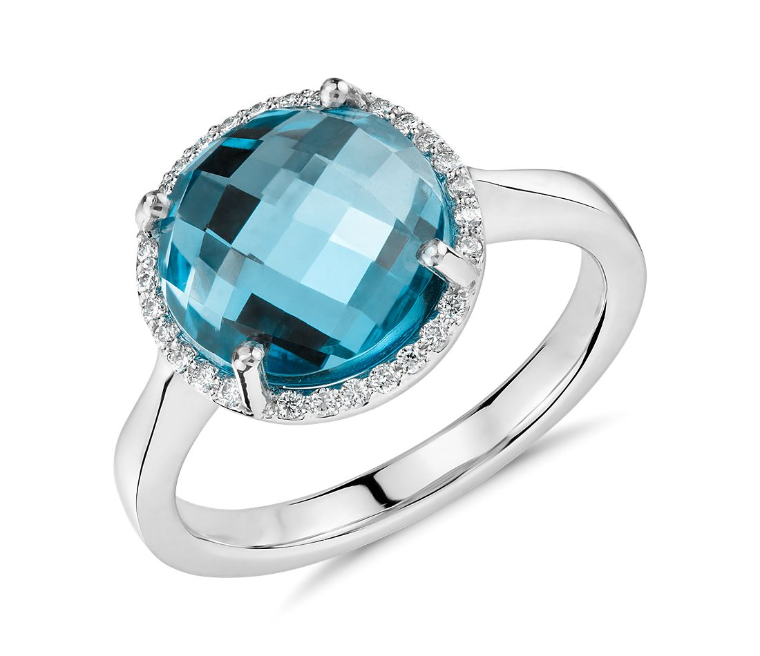 Blue Topaz and Diamond Halo Ring in 14k White Gold  (10mm)
