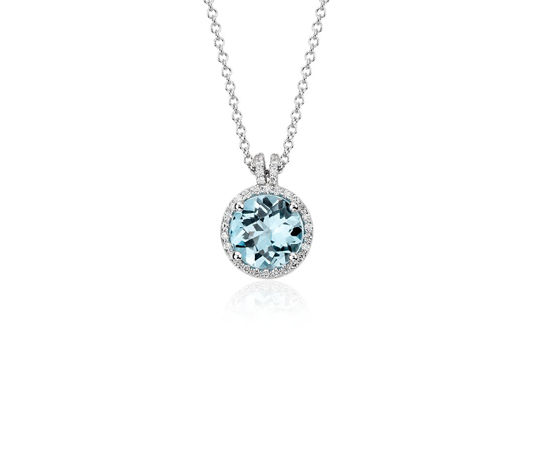 Blue Topaz and Diamond Petite Round Halo Pendant in 14k White Gold (8mm)