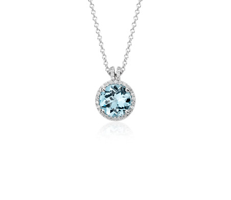 Blue topaz and diamond petite round halo pendant in 14k white gold blue topaz and diamond petite round halo pendant in 14k white gold 8mm aloadofball Image collections