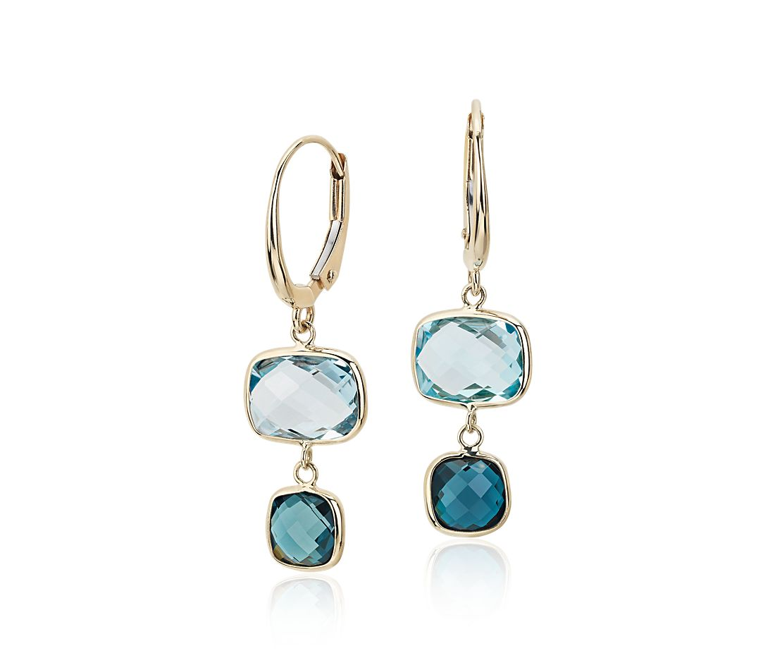Blue Topaz Tonal Drop Leverback Earrings in 14k Yellow Gold
