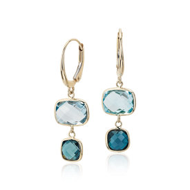 Blue Topaz Ombre Drop Leverback Earrings in 14k Yellow Gold