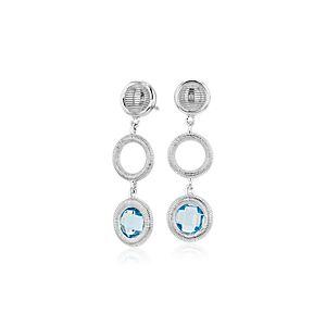 NEW Frances Gadbois Disc Blue Topaz Drop Earring in Sterling Silver (6mm)