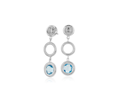Frances Gadbois Disc Blue Topaz Drop Earring in Sterling Silver (6mm)