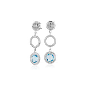 NEW Frances Gadbois Disc Blue Topaz Drop Earring in Sterling Silver (6mm)