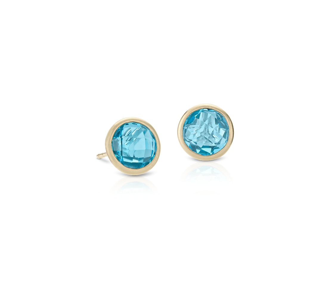 Blue Topaz Stud Earrings In 14k Yellow Gold 7mm