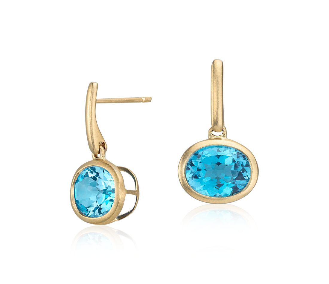 Blue Topaz Drop Earrings In 14k Yellow Gold 10x8mm