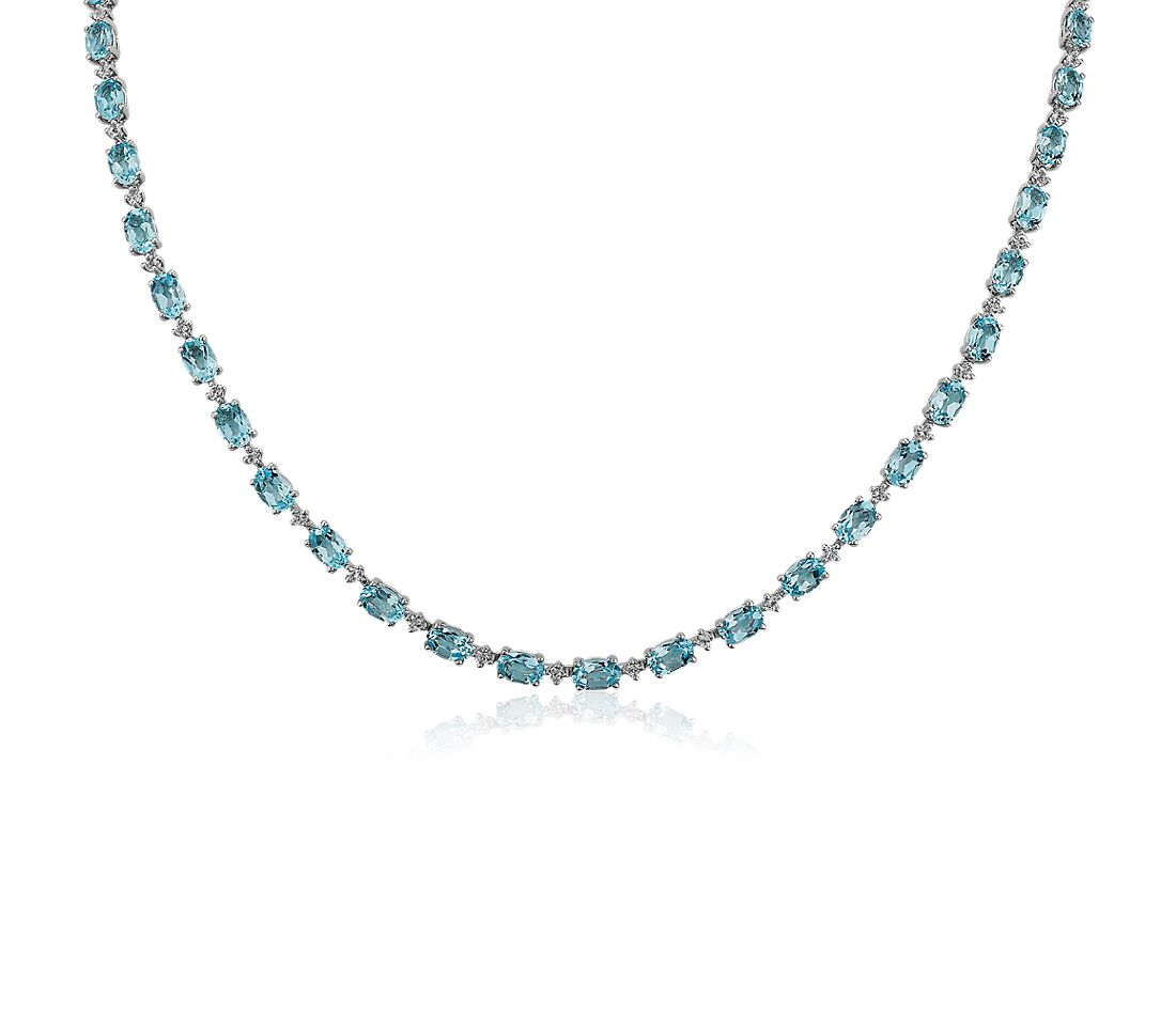 Blue Topaz Eternity Necklace in Sterling Silver with White Topaz
