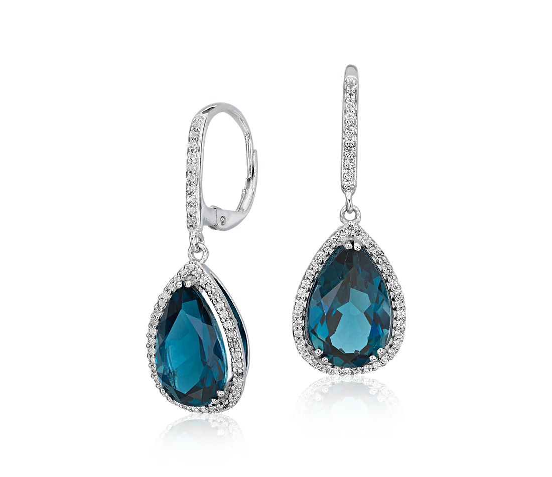 London Blue Topaz Elegant Halo Drop Earrings in Sterling Silver (14x9mm)