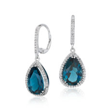 London Blue Topaz Halo Drop Earrings in Sterling Silver (14x9mm)