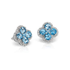 Blue Topaz Halo Clover Earrings in Sterling Silver (4mm)