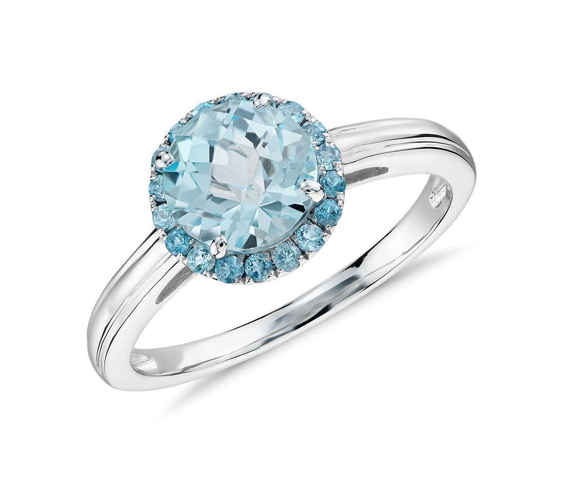 Blue Topaz Halo Ring in 14k White Gold (7mm)