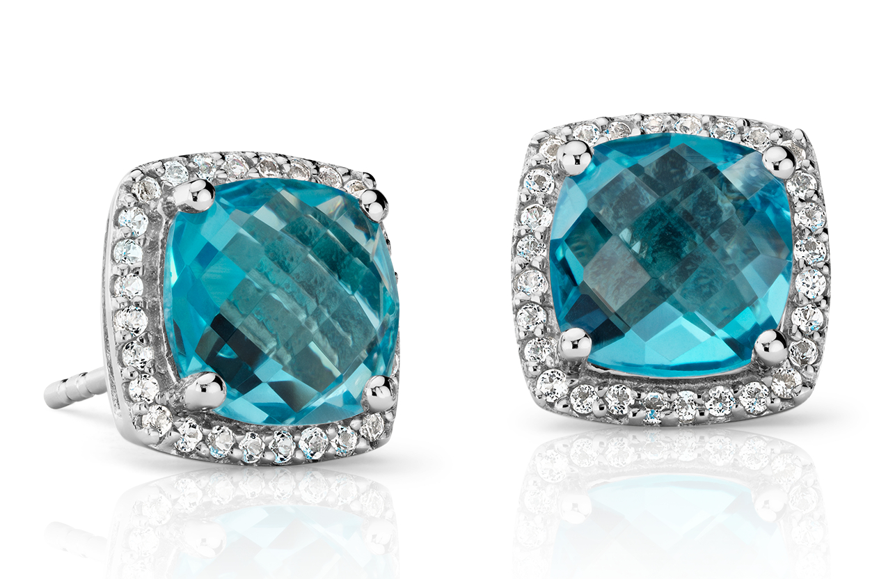Blue Topaz Halo Stud Earrings in Sterling Silver (8x8mm)