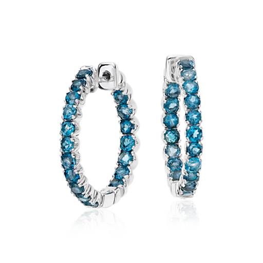 London Blue Topaz Hoop Earrings In Sterling Silver 2 5mm