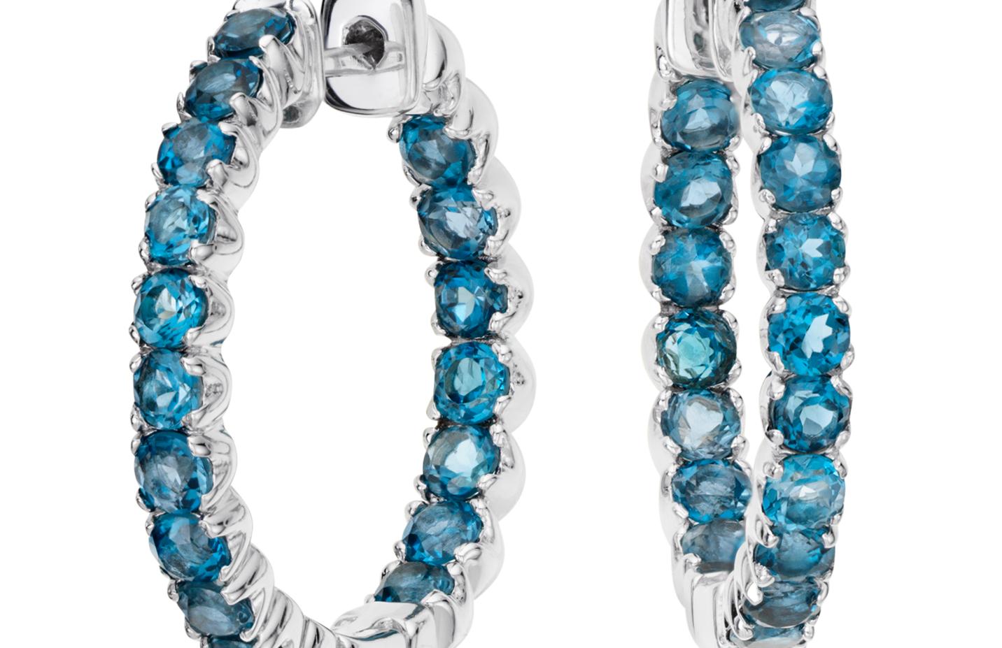 Boucles d'oreilles topaze bleu londonien en argent sterling (2,5mm)