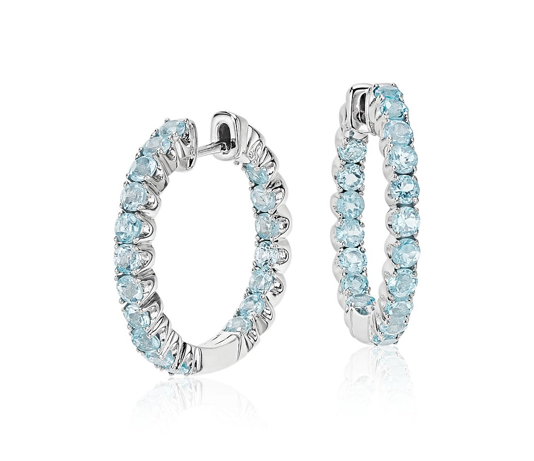 Swiss Blue Topaz Hoop Earrings in Sterling Silver (2.5mm)